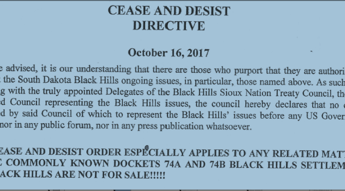 Lakota Treaty Council Files Cease & Desist Order to Block Negotiation or Access to Black Hills Settlement Interest Money